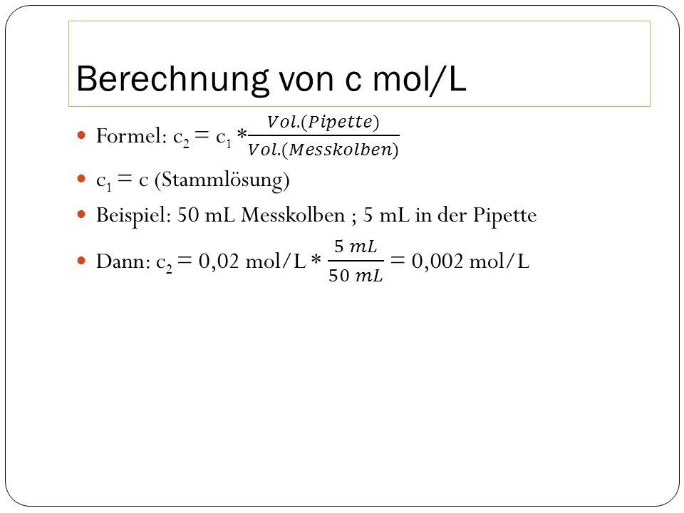 Berechnung von c mol/L