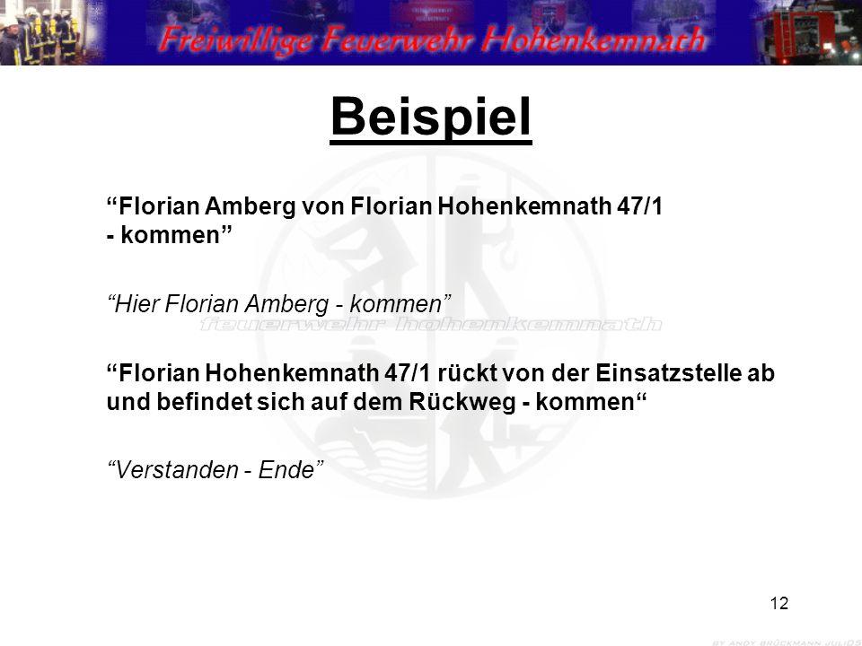 12 Beispiel Florian Amberg von Florian Hohenkemnath 47/1 - kommen Hier Florian Amberg - kommen Florian Hohenkemnath 47/1 rückt von der Einsatzstelle ab und befindet sich auf dem Rückweg - kommen Verstanden - Ende