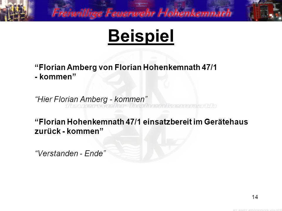 14 Beispiel Florian Amberg von Florian Hohenkemnath 47/1 - kommen Hier Florian Amberg - kommen Florian Hohenkemnath 47/1 einsatzbereit im Gerätehaus zurück - kommen Verstanden - Ende