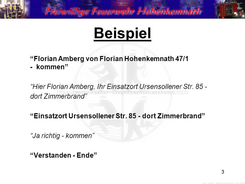 """3 Beispiel """"Florian Amberg von Florian Hohenkemnath 47/1 - kommen"""" """"Hier Florian Amberg, Ihr Einsatzort Ursensollener Str. 85 - dort Zimmerbrand"""" """"Ein"""
