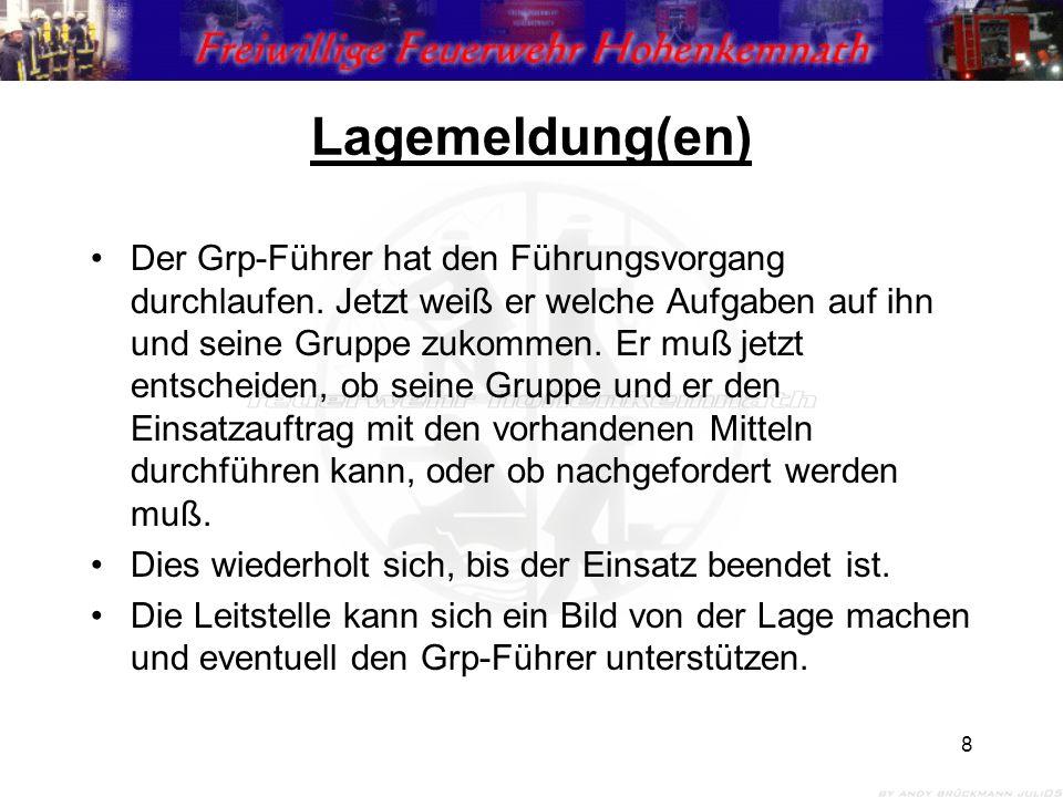 8 Lagemeldung(en) Der Grp-Führer hat den Führungsvorgang durchlaufen.