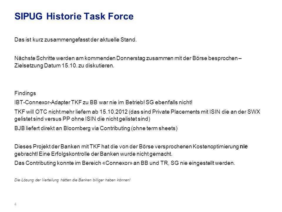 4 SIPUG Historie Task Force Das ist kurz zusammengefasst der aktuelle Stand.