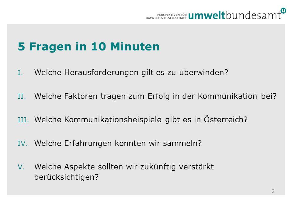 5 Fragen in 10 Minuten 2 I. Welche Herausforderungen gilt es zu überwinden.