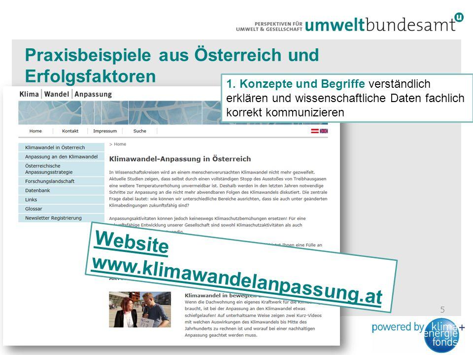 5 Praxisbeispiele aus Österreich und Erfolgsfaktoren Website www.klimawandelanpassung.at 1.