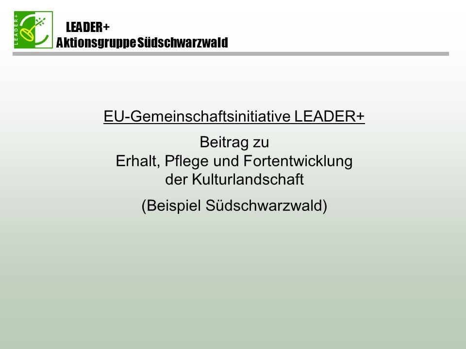 LEADER+ Aktionsgruppe Südschwarzwald EU-Gemeinschaftsinitiative LEADER+ Beitrag zu Erhalt, Pflege und Fortentwicklung der Kulturlandschaft (Beispiel Südschwarzwald)