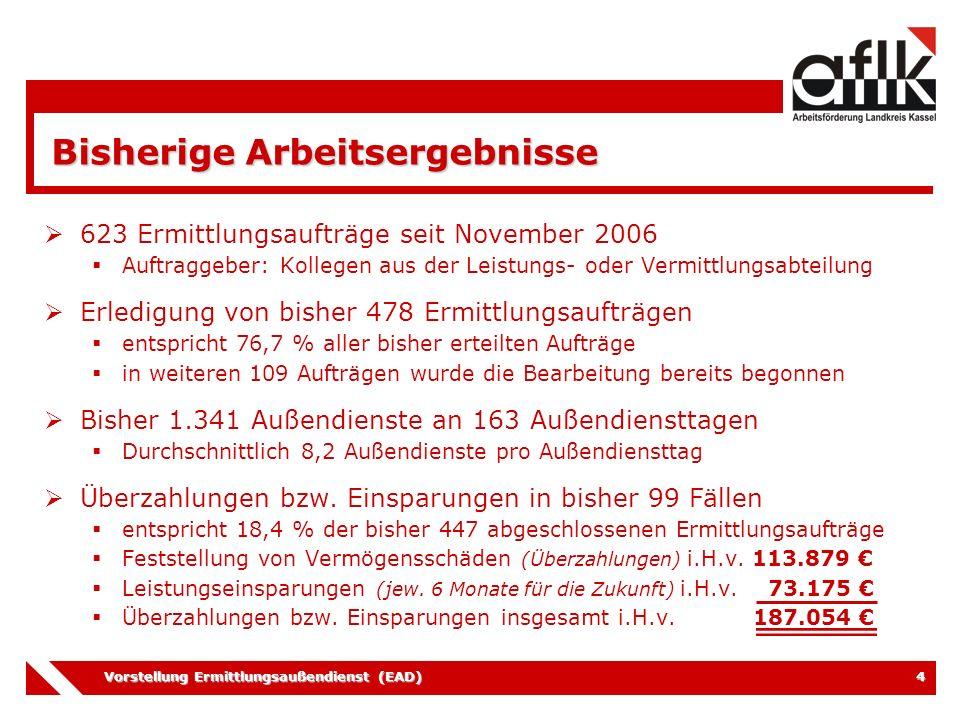 Vorstellung Ermittlungsaußendienst (EAD) 4 Bisherige Arbeitsergebnisse  623 Ermittlungsaufträge seit November 2006  Auftraggeber: Kollegen aus der L