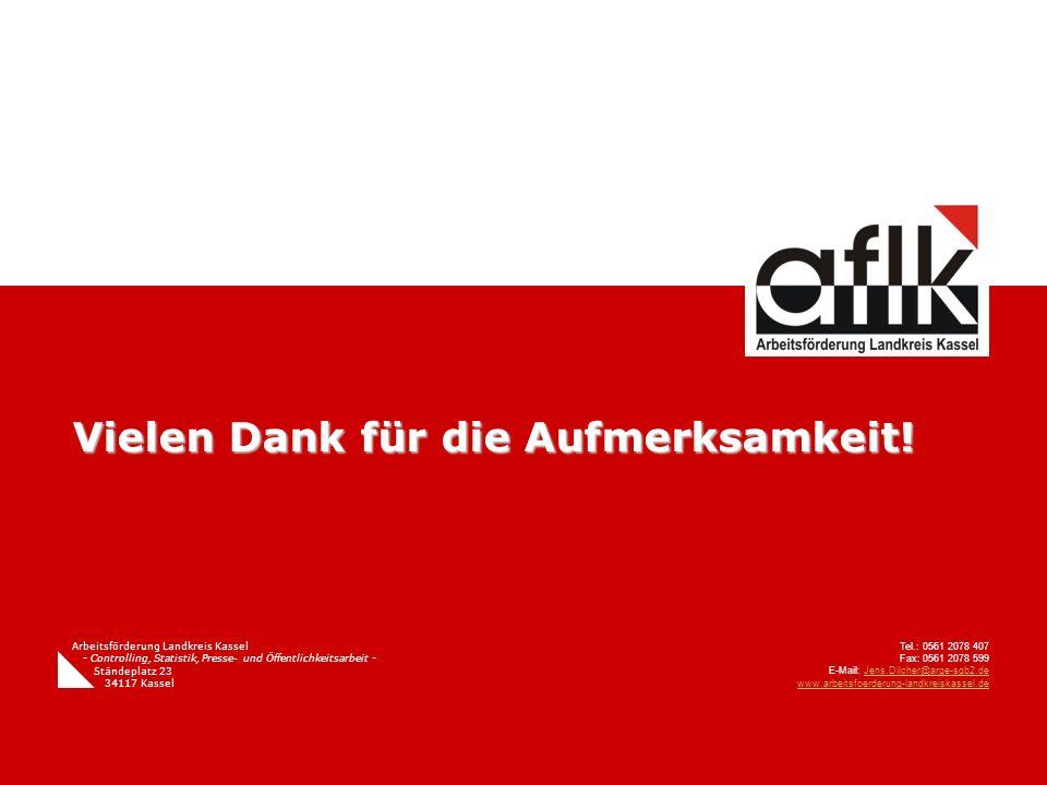 Vielen Dank für die Aufmerksamkeit! Arbeitsförderung Landkreis Kassel - Controlling, Statistik, Presse- und Öffentlichkeitsarbeit - Ständeplatz 23 341