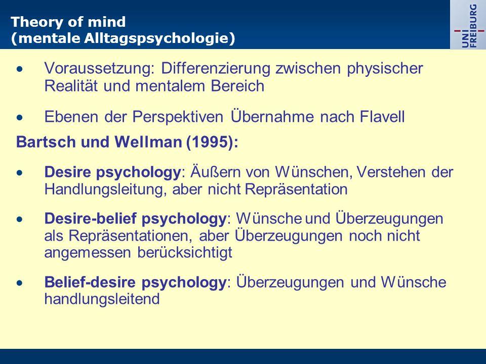Theory of mind (mentale Alltagspsychologie)  Voraussetzung: Differenzierung zwischen physischer Realität und mentalem Bereich  Ebenen der Perspektiv