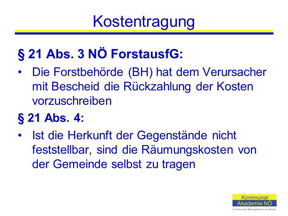 Kostentragung § 21 Abs. 3 NÖ ForstausfG: Die Forstbehörde (BH) hat dem Verursacher mit Bescheid die Rückzahlung der Kosten vorzuschreiben § 21 Abs. 4:
