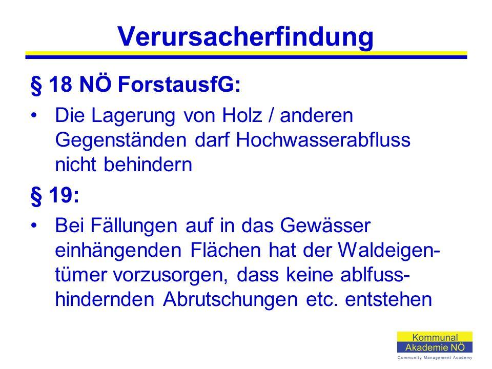 Verursacherfindung § 18 NÖ ForstausfG: Die Lagerung von Holz / anderen Gegenständen darf Hochwasserabfluss nicht behindern § 19: Bei Fällungen auf in