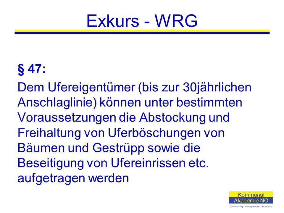 Exkurs - WRG § 47: Dem Ufereigentümer (bis zur 30jährlichen Anschlaglinie) können unter bestimmten Voraussetzungen die Abstockung und Freihaltung von