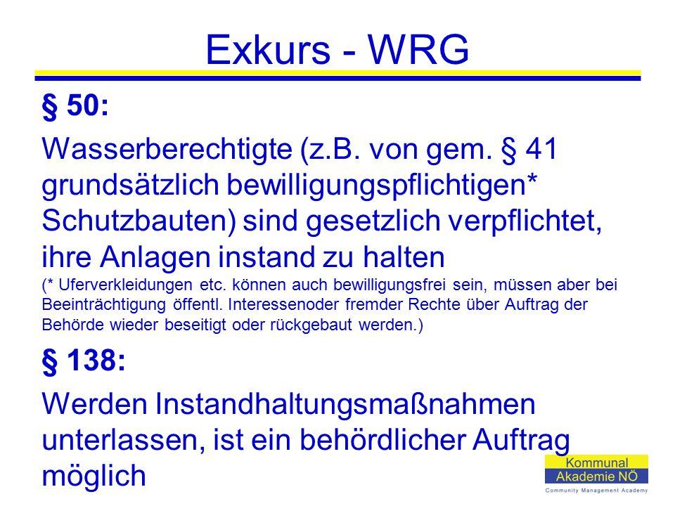 Exkurs - WRG § 50: Wasserberechtigte (z.B. von gem. § 41 grundsätzlich bewilligungspflichtigen* Schutzbauten) sind gesetzlich verpflichtet, ihre Anlag