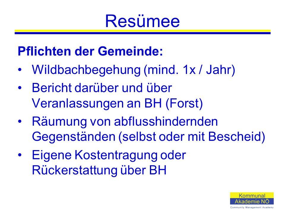 Resümee Pflichten der Gemeinde: Wildbachbegehung (mind. 1x / Jahr) Bericht darüber und über Veranlassungen an BH (Forst) Räumung von abflusshindernden
