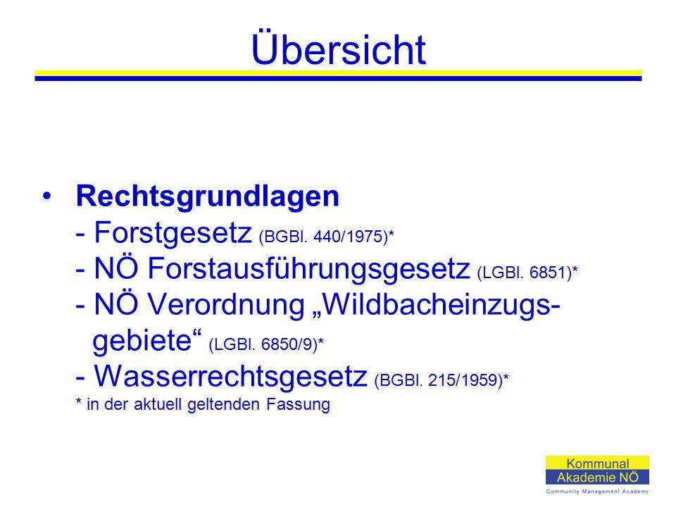 "Übersicht Rechtsgrundlagen - Forstgesetz (BGBl. 440/1975)* - NÖ Forstausführungsgesetz (LGBl. 6851)* - NÖ Verordnung ""Wildbacheinzugs- gebiete"" (LGBl."