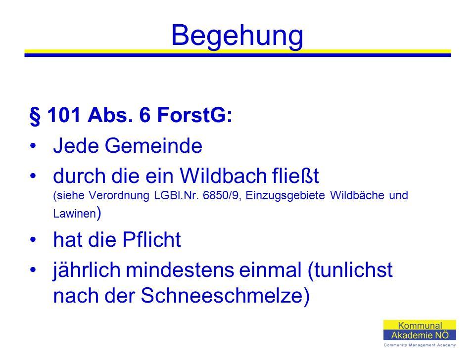Begehung § 101 Abs. 6 ForstG: Jede Gemeinde durch die ein Wildbach fließt (siehe Verordnung LGBl.Nr. 6850/9, Einzugsgebiete Wildbäche und Lawinen ) ha