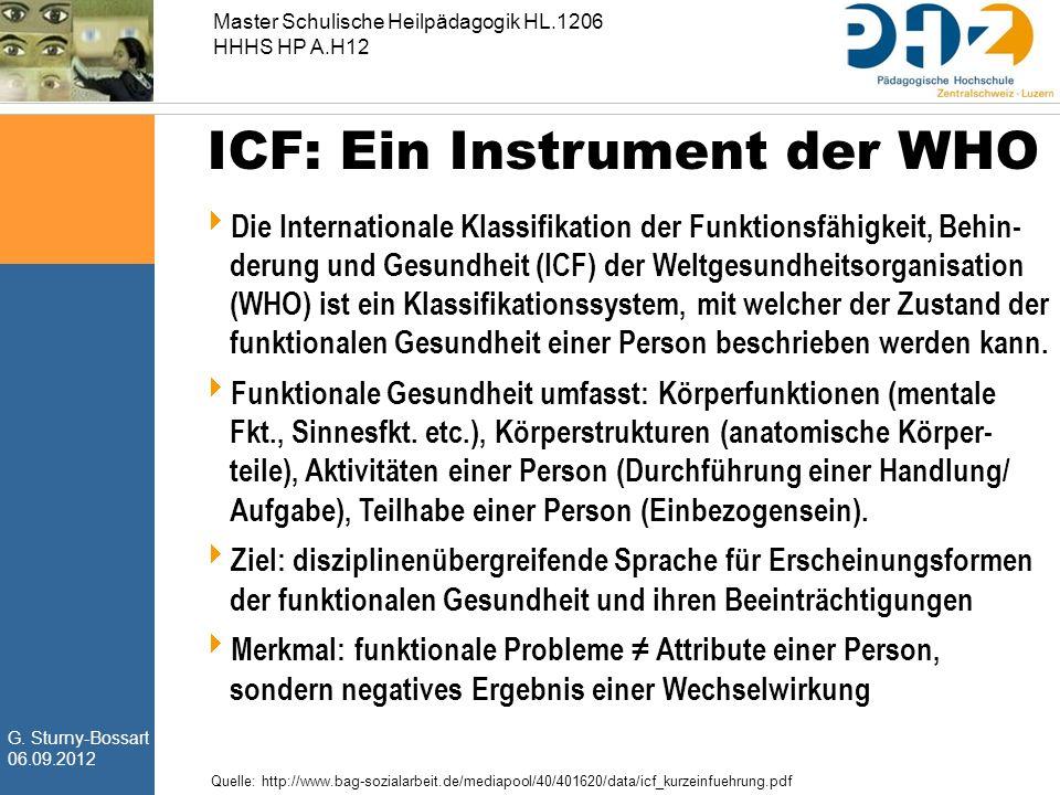 G. Sturny-Bossart 06.09.2012 Master Schulische Heilpädagogik HL.1206 HHHS HP A.H12 ICF: Ein Instrument der WHO  Die Internationale Klassifikation der