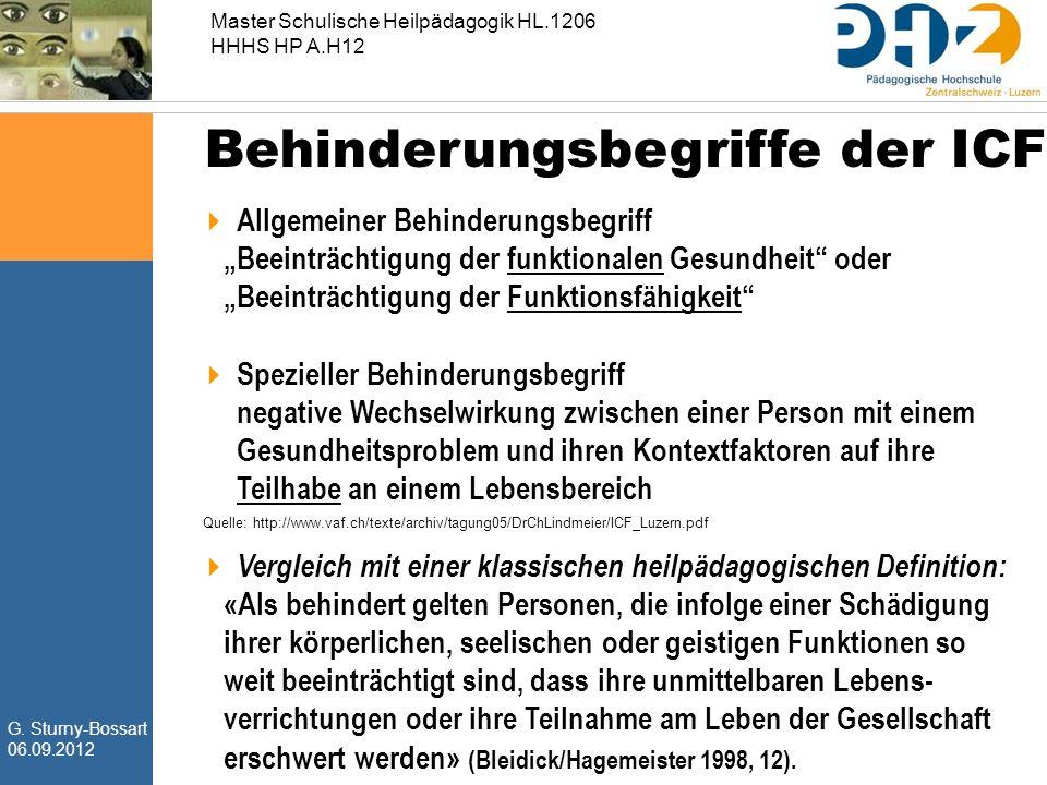 """G. Sturny-Bossart 06.09.2012 Master Schulische Heilpädagogik HL.1206 HHHS HP A.H12 Behinderungsbegriffe der ICF  Allgemeiner Behinderungsbegriff """"Bee"""