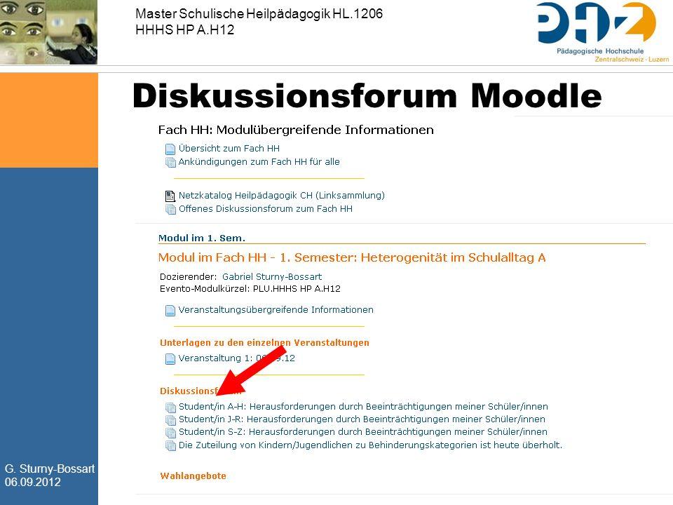 G. Sturny-Bossart 06.09.2012 Master Schulische Heilpädagogik HL.1206 HHHS HP A.H12 Diskussionsforum Moodle