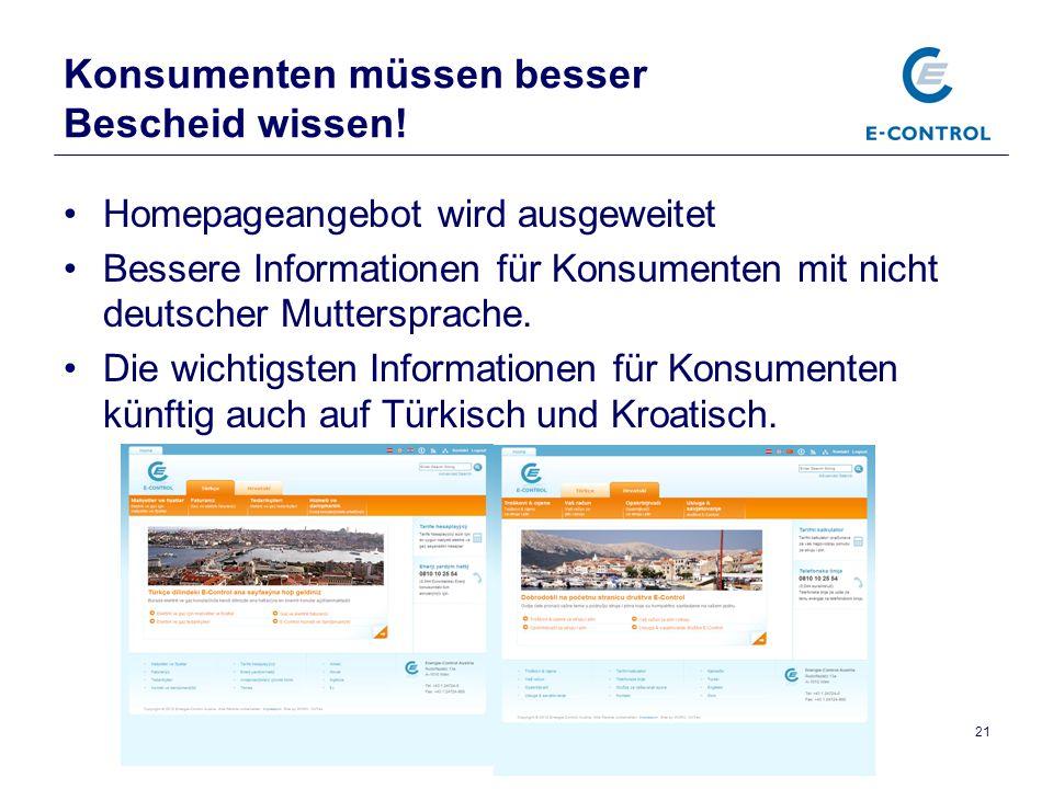 Pressekonferenz, Präsentation Jahresbericht 2011, 15.3.2012 21 Konsumenten müssen besser Bescheid wissen.