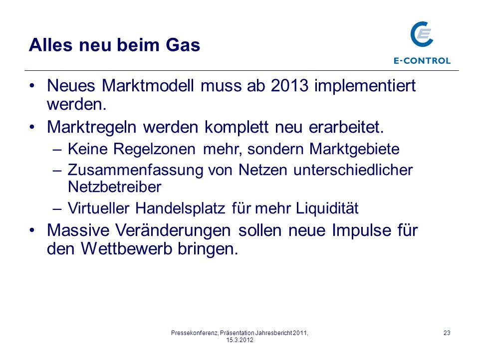 Pressekonferenz, Präsentation Jahresbericht 2011, 15.3.2012 23 Alles neu beim Gas Neues Marktmodell muss ab 2013 implementiert werden.