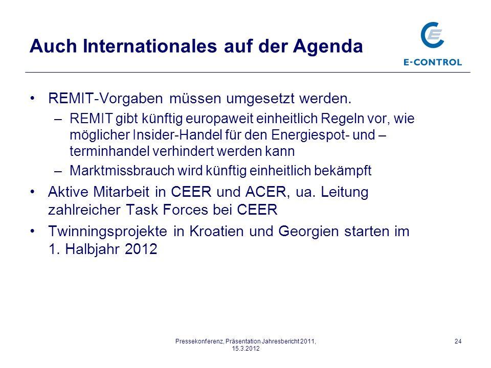 Pressekonferenz, Präsentation Jahresbericht 2011, 15.3.2012 24 Auch Internationales auf der Agenda REMIT-Vorgaben müssen umgesetzt werden.