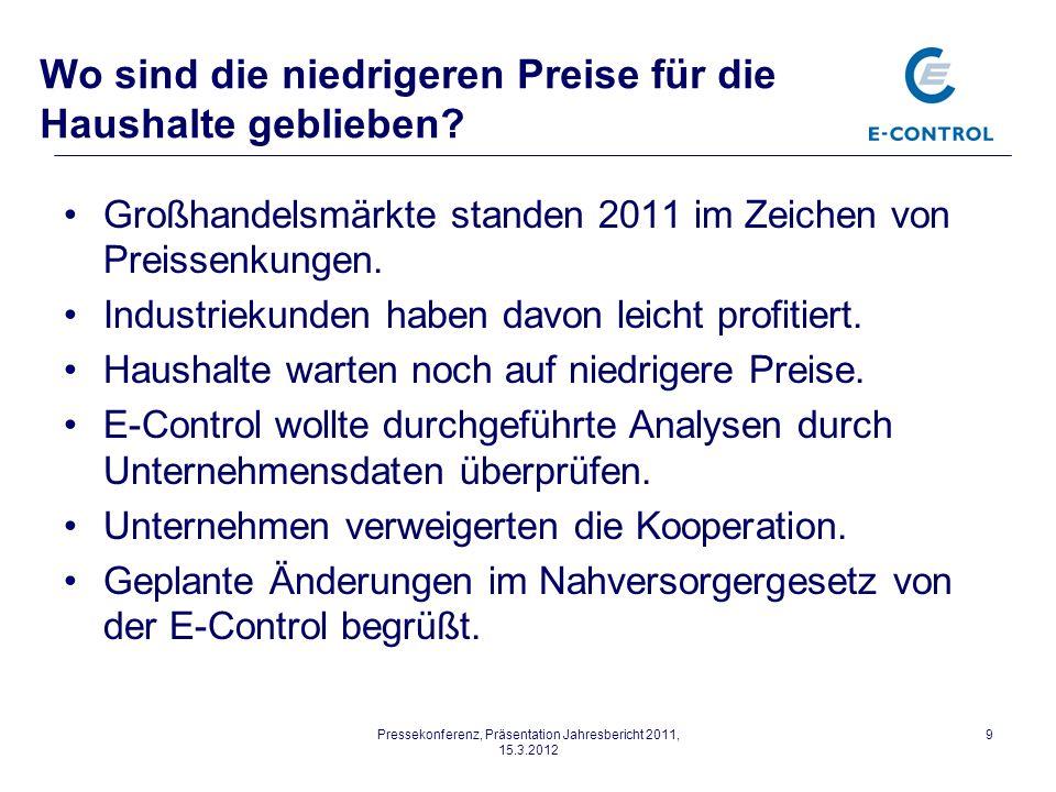 Pressekonferenz, Präsentation Jahresbericht 2011, 15.3.2012 9 Wo sind die niedrigeren Preise für die Haushalte geblieben.