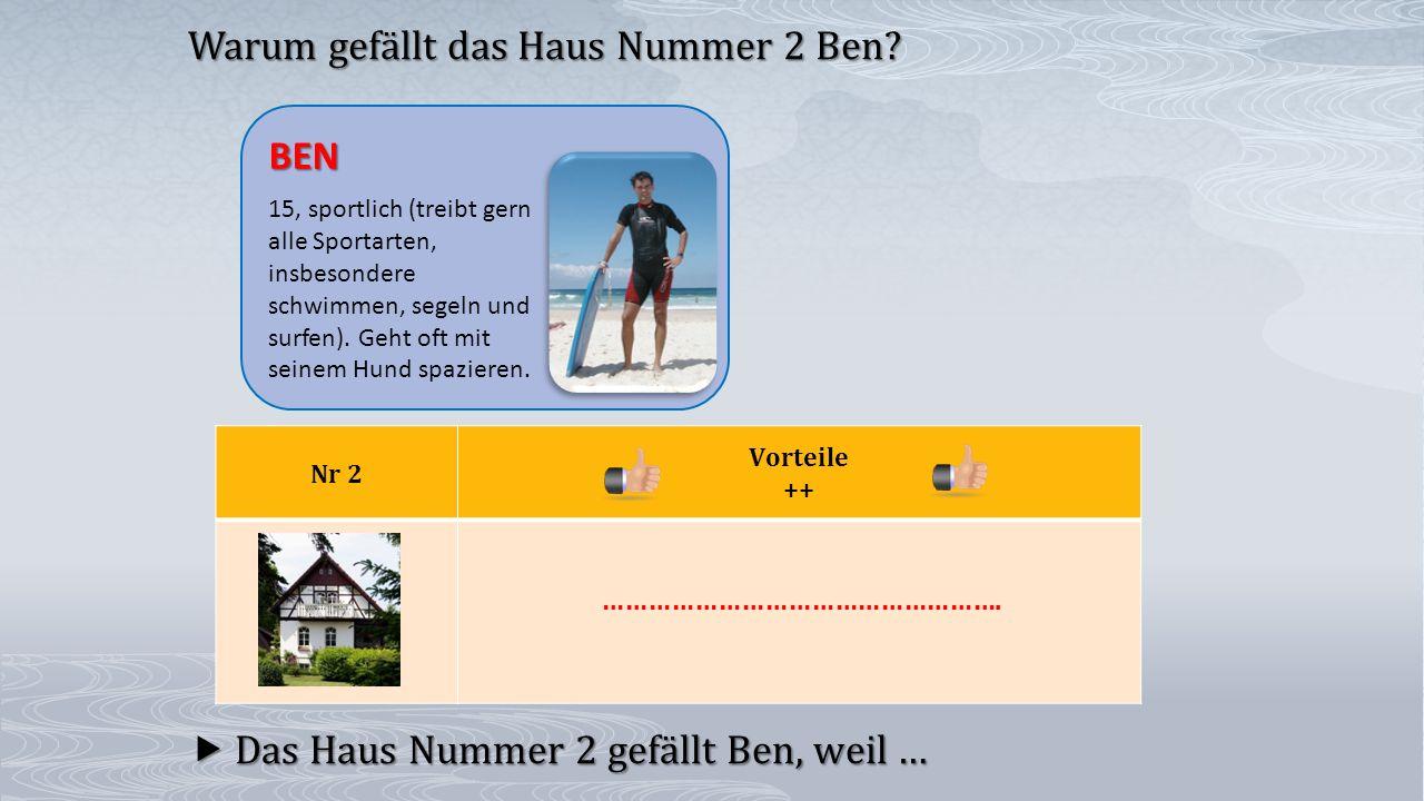 Nr 2 Vorteile ++  Das Haus Nummer 2 gefällt Ben, weil … Warum gefällt das Haus Nummer 2 Ben? BEN 15, sportlich (treibt gern alle Sportarten, insbeson