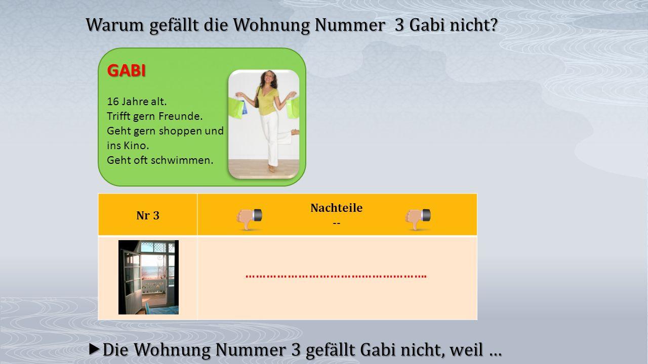 Nr 3 Nachteile --  Die Wohnung Nummer 3 gefällt Gabi nicht, weil … Warum gefällt die Wohnung Nummer 3 Gabi nicht? GABI 16 Jahre alt. Trifft gern Freu
