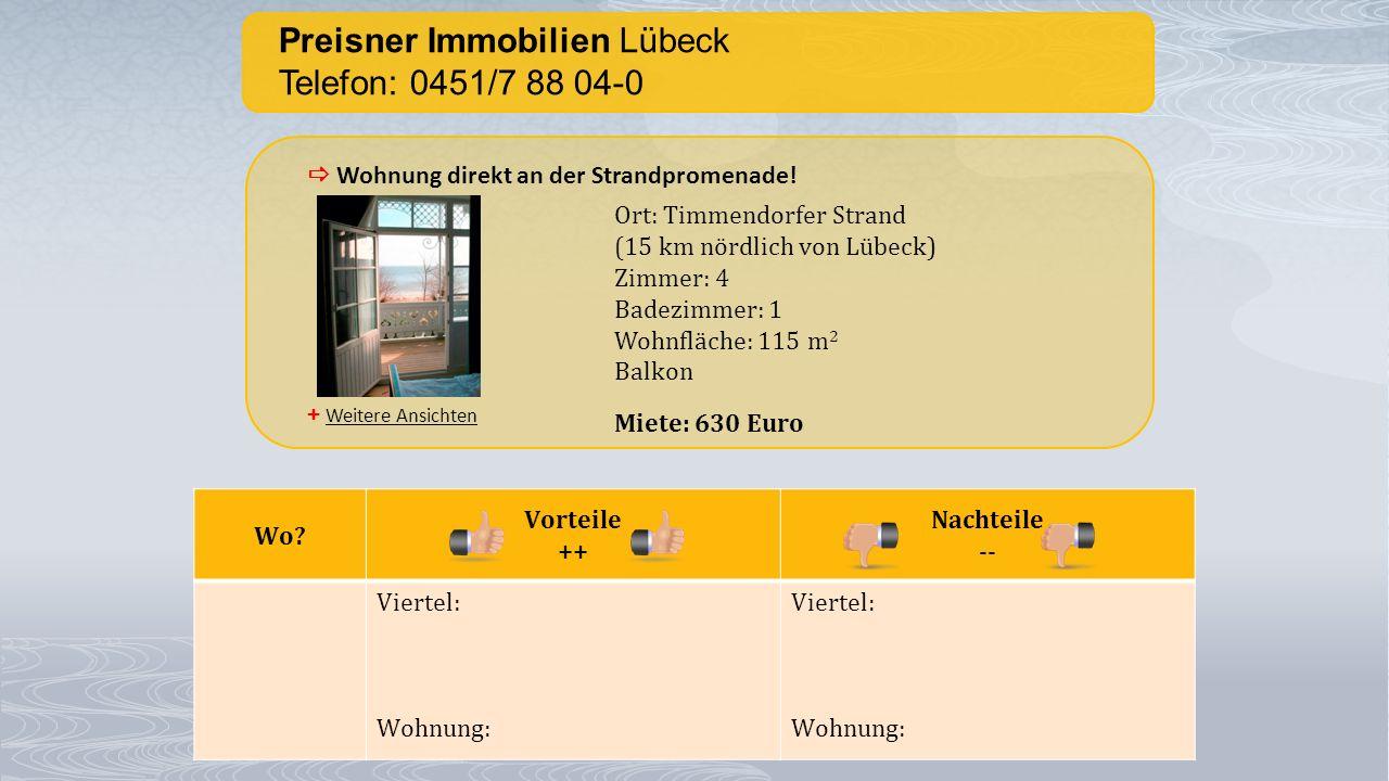 Preisner Immobilien Lübeck Telefon: 0451/7 88 04-0 + Weitere Ansichten  Wohnung direkt an der Strandpromenade! Ort: Timmendorfer Strand (15 km nördli