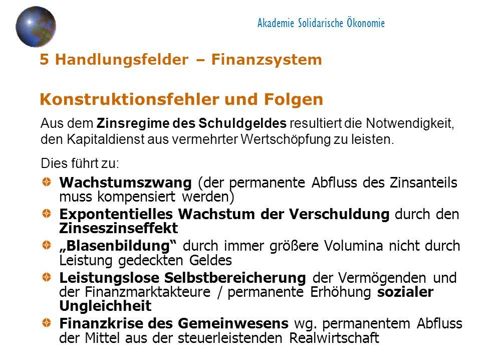 5 Handlungsfelder – Finanzsystem Konstruktionsfehler und Folgen Wachstumszwang (der permanente Abfluss des Zinsanteils muss kompensiert werden) Expont