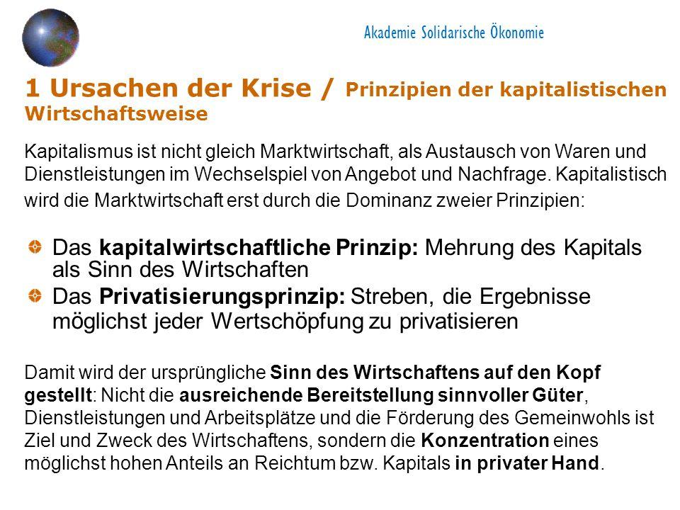 Akademie Solidarische Ökonomie 1 Ursachen der Krise / Prinzipien der kapitalistischen Wirtschaftsweise Das kapitalwirtschaftliche Prinzip: Mehrung des