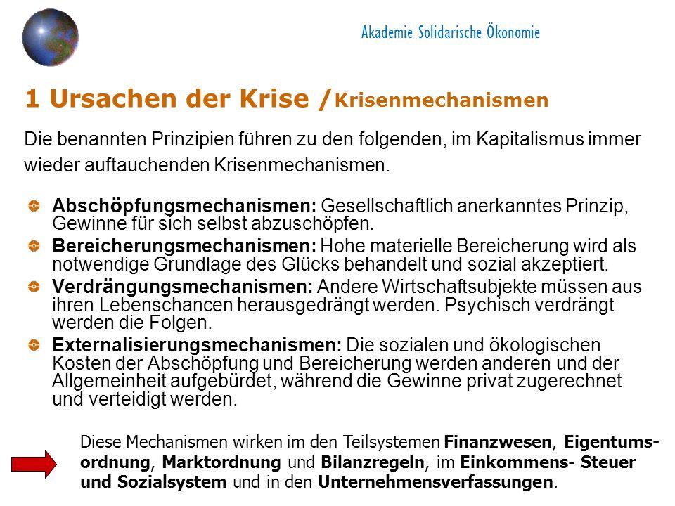 Akademie Solidarische Ökonomie 1 Ursachen der Krise / Krisenmechanismen Absch ö pfungsmechanismen: Gesellschaftlich anerkanntes Prinzip, Gewinne f ü r sich selbst abzusch ö pfen.