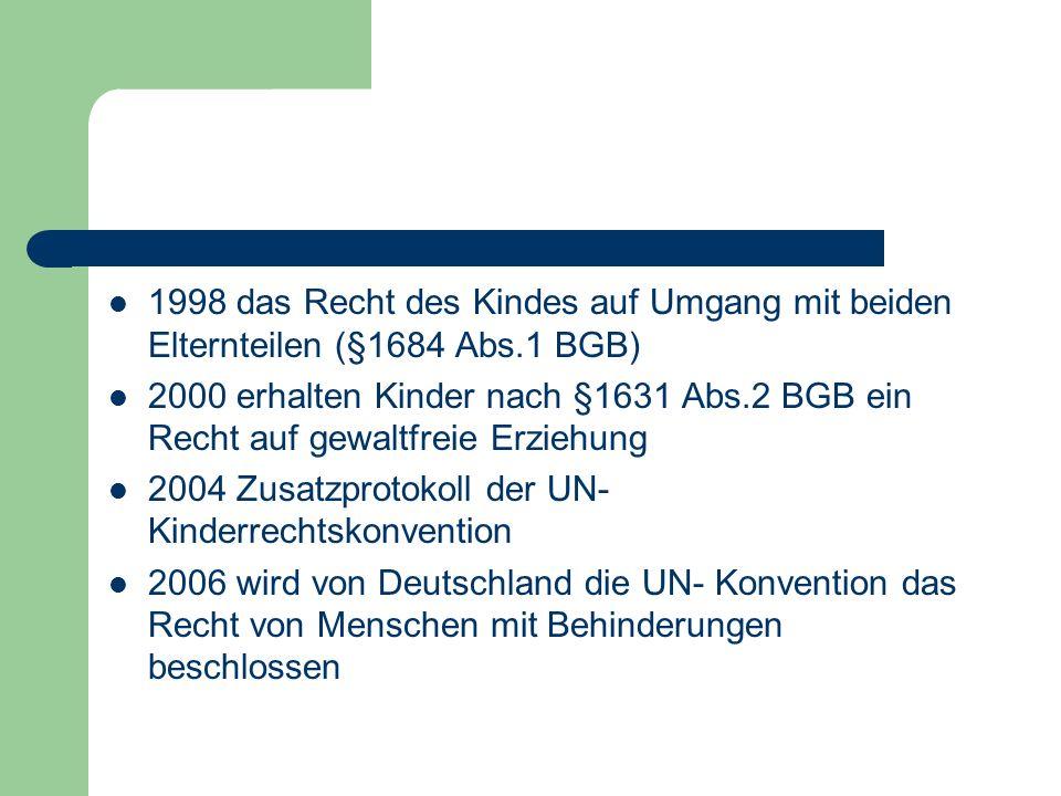 2009 wird das Zusatzprotokoll der UN- Kinderrechtskonvention zum Kinderhandel, Kinderprostitution und Kinderpornografie in Deutschland beschlossen 2010 werden alle Rechte nach der Konvention geltend gemacht (BUNDESMINISTERIUM FÜR FAMILIE, SENIOREN, FRAUEN UND JUGEND 2007)