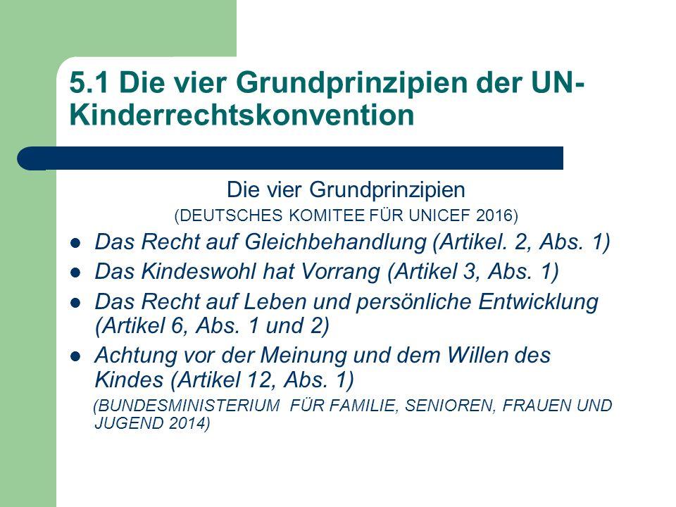5.1 Die vier Grundprinzipien der UN- Kinderrechtskonvention Die vier Grundprinzipien (DEUTSCHES KOMITEE FÜR UNICEF 2016) Das Recht auf Gleichbehandlun