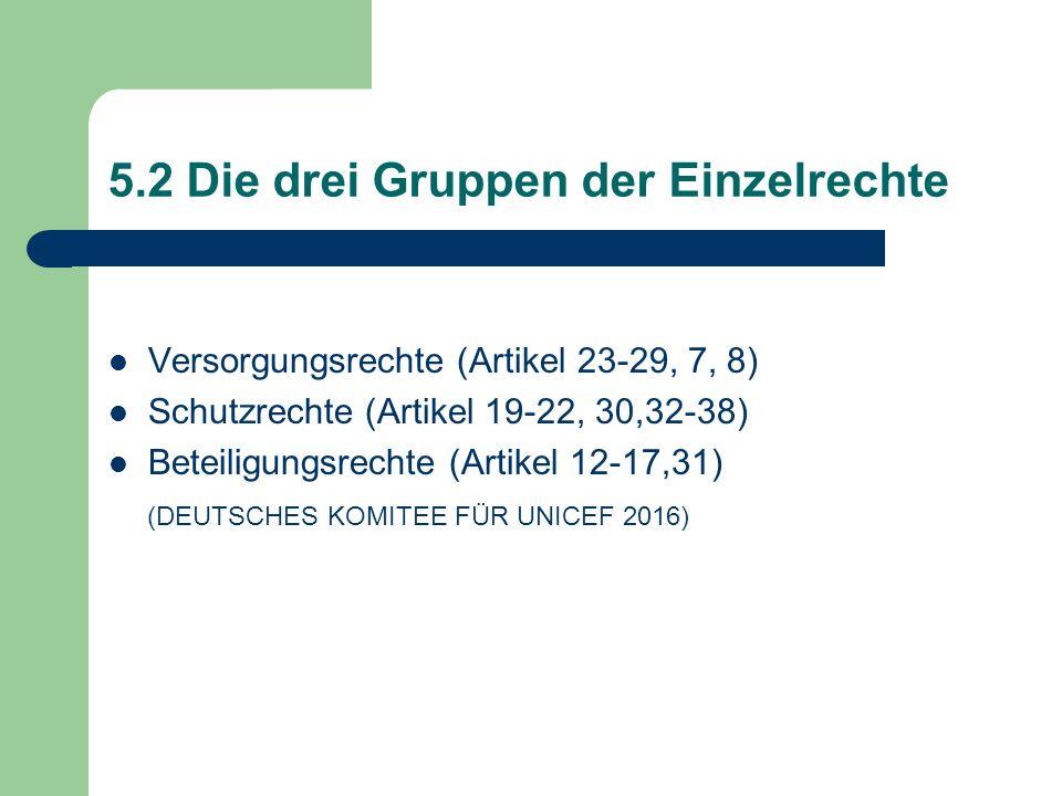 5.2 Die drei Gruppen der Einzelrechte Versorgungsrechte (Artikel 23-29, 7, 8) Schutzrechte (Artikel 19-22, 30,32-38) Beteiligungsrechte (Artikel 12-17