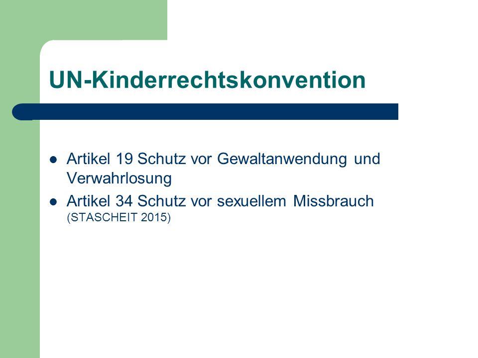 UN-Kinderrechtskonvention Artikel 19 Schutz vor Gewaltanwendung und Verwahrlosung Artikel 34 Schutz vor sexuellem Missbrauch (STASCHEIT 2015)