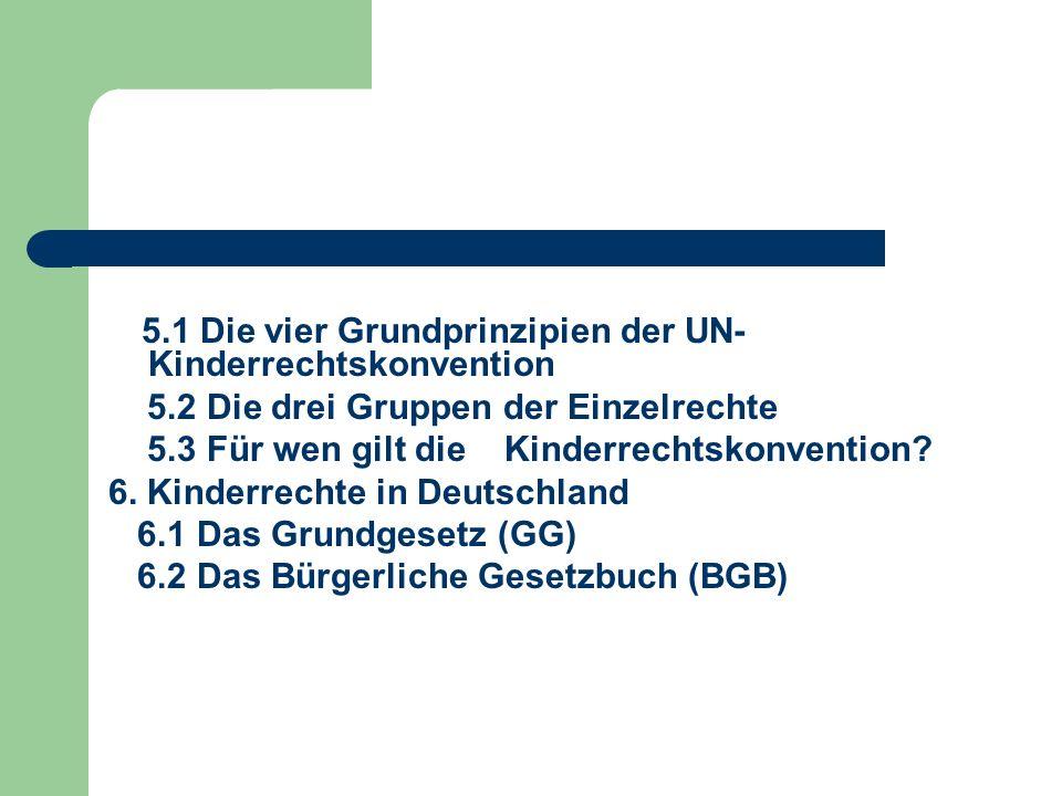 5.1 Die vier Grundprinzipien der UN- Kinderrechtskonvention 5.2 Die drei Gruppen der Einzelrechte 5.3 Für wen gilt die Kinderrechtskonvention? 6. Kind