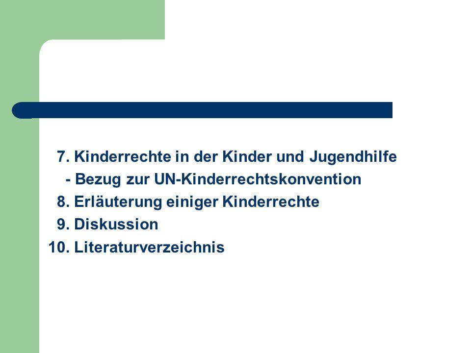 7. Kinderrechte in der Kinder und Jugendhilfe - Bezug zur UN-Kinderrechtskonvention 8. Erläuterung einiger Kinderrechte 9. Diskussion 10. Literaturver