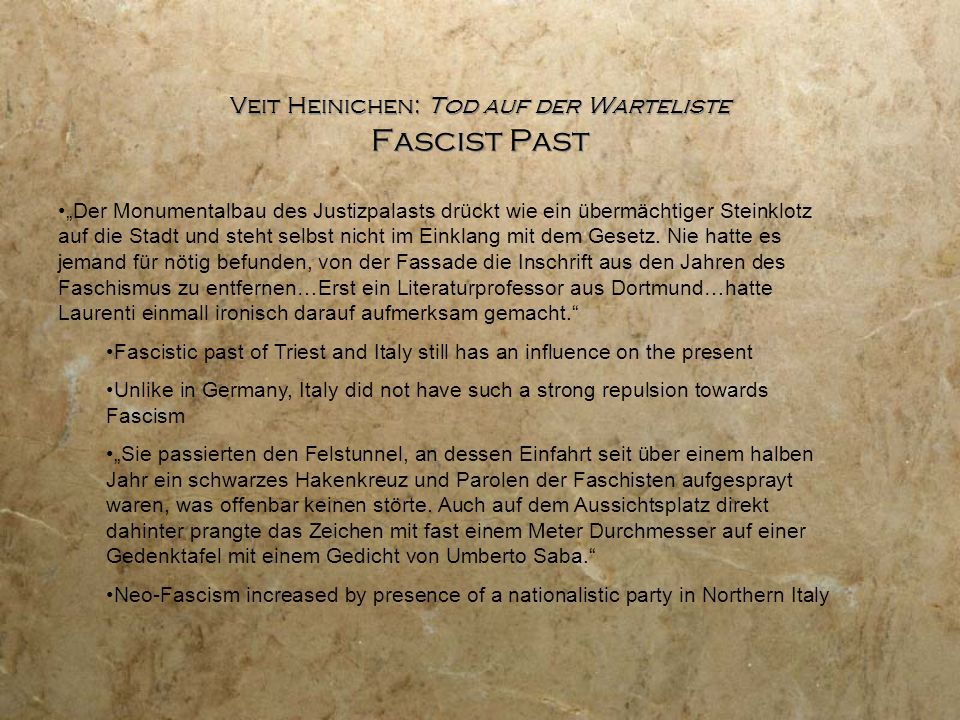 """Veit Heinichen: Tod auf der Warteliste Fascist Past """"Der Monumentalbau des Justizpalasts drückt wie ein übermächtiger Steinklotz auf die Stadt und ste"""