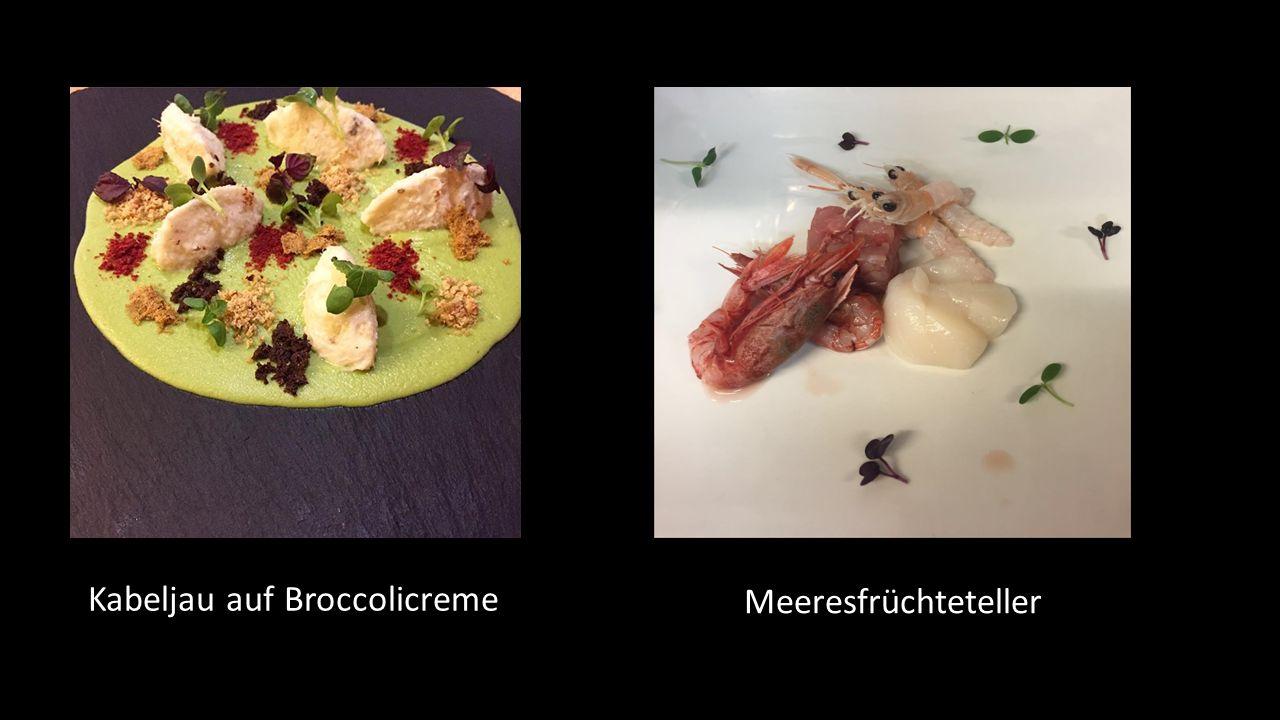 Kabeljau auf Broccolicreme Meeresfrüchteteller