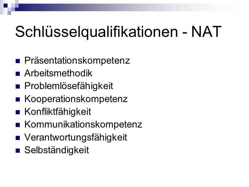 Schlüsselqualifikationen - NAT Präsentationskompetenz Arbeitsmethodik Problemlösefähigkeit Kooperationskompetenz Konfliktfähigkeit Kommunikationskompetenz Verantwortungsfähigkeit Selbständigkeit