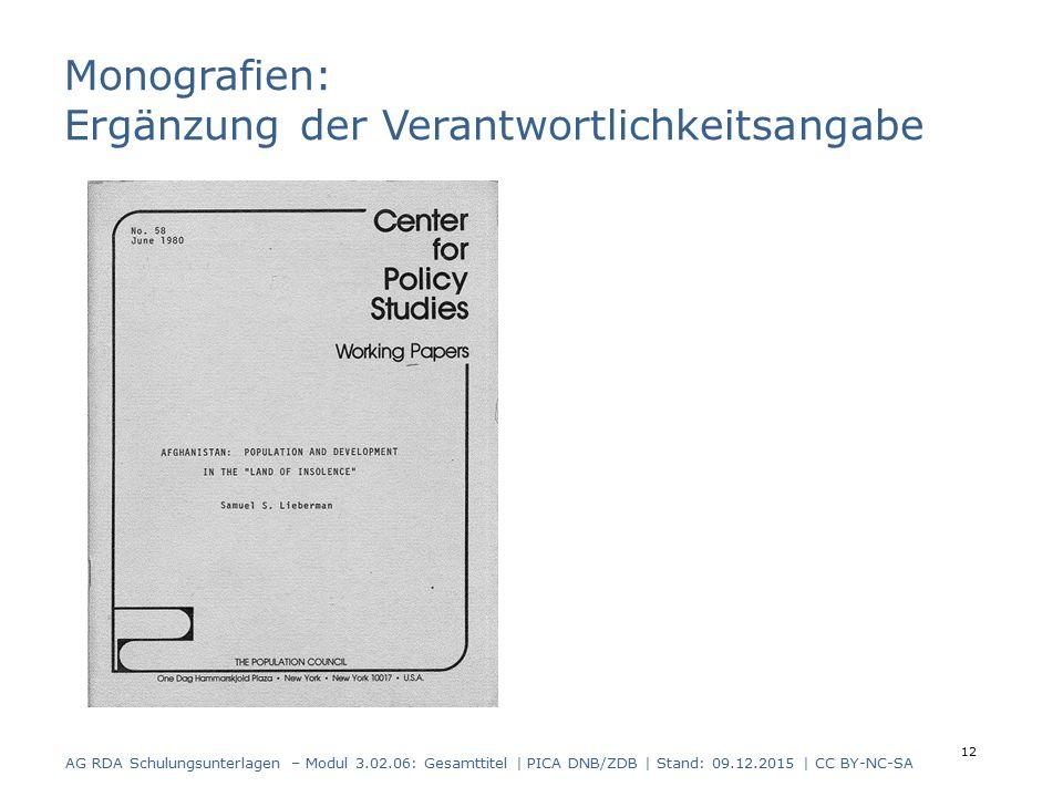 Monografien: Ergänzung der Verantwortlichkeitsangabe AG RDA Schulungsunterlagen – Modul 3.02.06: Gesamttitel | PICA DNB/ZDB | Stand: 09.12.2015 | CC BY-NC-SA 12
