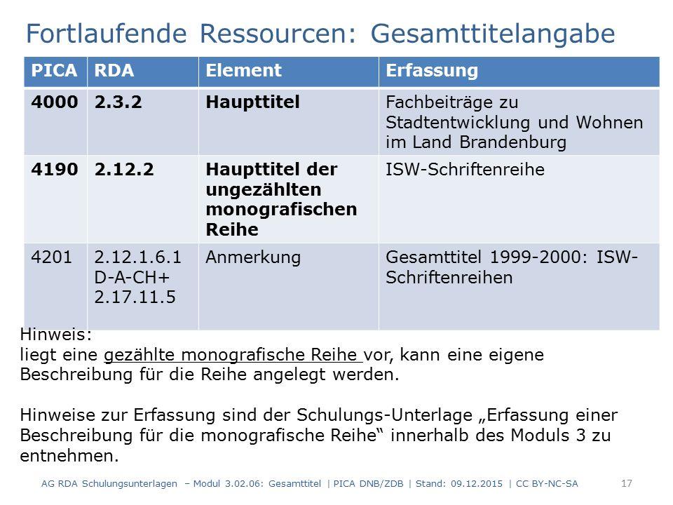 Fortlaufende Ressourcen: Gesamttitelangabe PICARDAElementErfassung 40002.3.2HaupttitelFachbeiträge zu Stadtentwicklung und Wohnen im Land Brandenburg 41902.12.2Haupttitel der ungezählten monografischen Reihe ISW-Schriftenreihe 42012.12.1.6.1 D-A-CH+ 2.17.11.5 AnmerkungGesamttitel 1999-2000: ISW- Schriftenreihen Hinweis: liegt eine gezählte monografische Reihe vor, kann eine eigene Beschreibung für die Reihe angelegt werden.