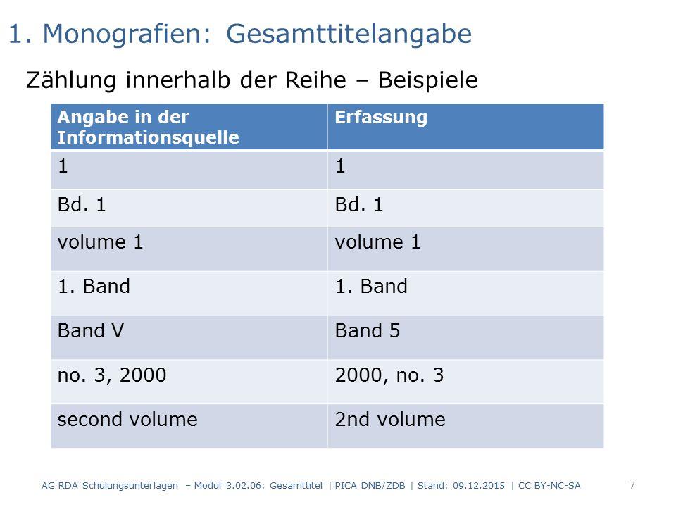 1. Monografien: Gesamttitelangabe Zählung innerhalb der Reihe – Beispiele Angabe in der Informationsquelle Erfassung 11 Bd. 1 volume 1 1. Band Band VB