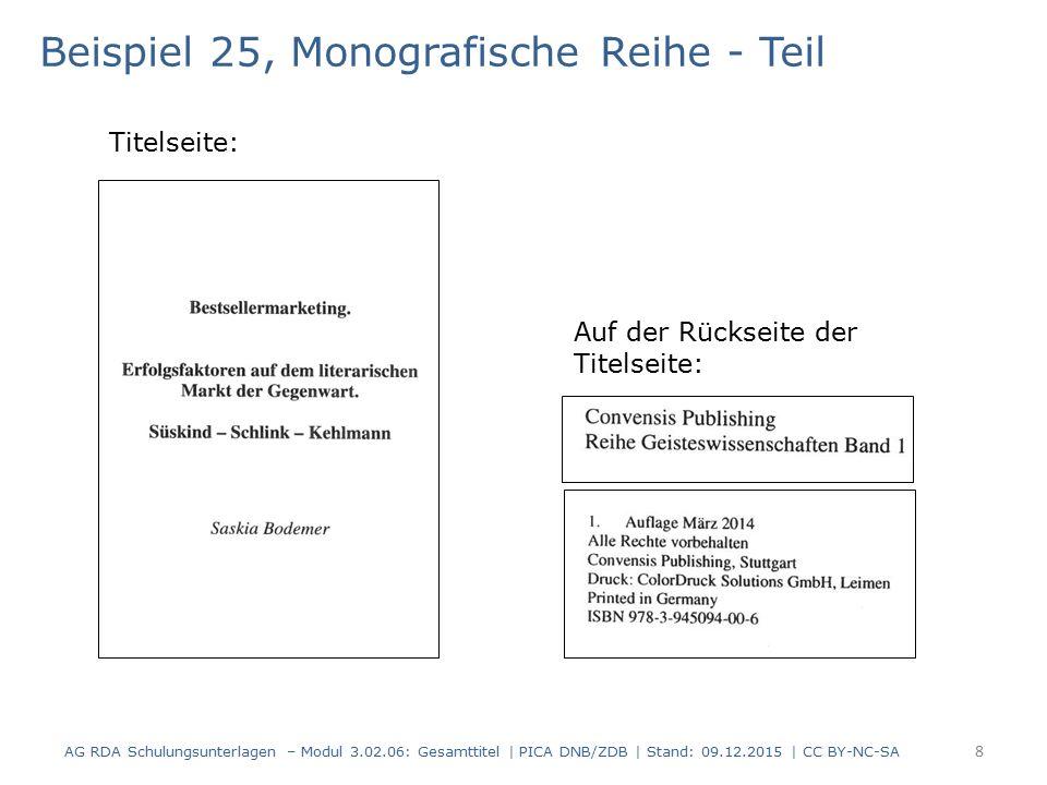 Beispiel 25, Monografische Reihe - Teil Titelseite: Auf der Rückseite der Titelseite: AG RDA Schulungsunterlagen – Modul 3.02.06: Gesamttitel | PICA DNB/ZDB | Stand: 09.12.2015 | CC BY-NC-SA 8