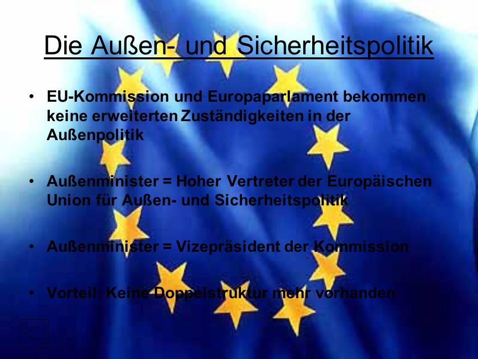 Die Außen- und Sicherheitspolitik EU-Kommission und Europaparlament bekommen keine erweiterten Zuständigkeiten in der Außenpolitik Außenminister = Hoher Vertreter der Europäischen Union für Außen- und Sicherheitspolitik Außenminister = Vizepräsident der Kommission Vorteil: Keine Doppelstruktur mehr vorhanden