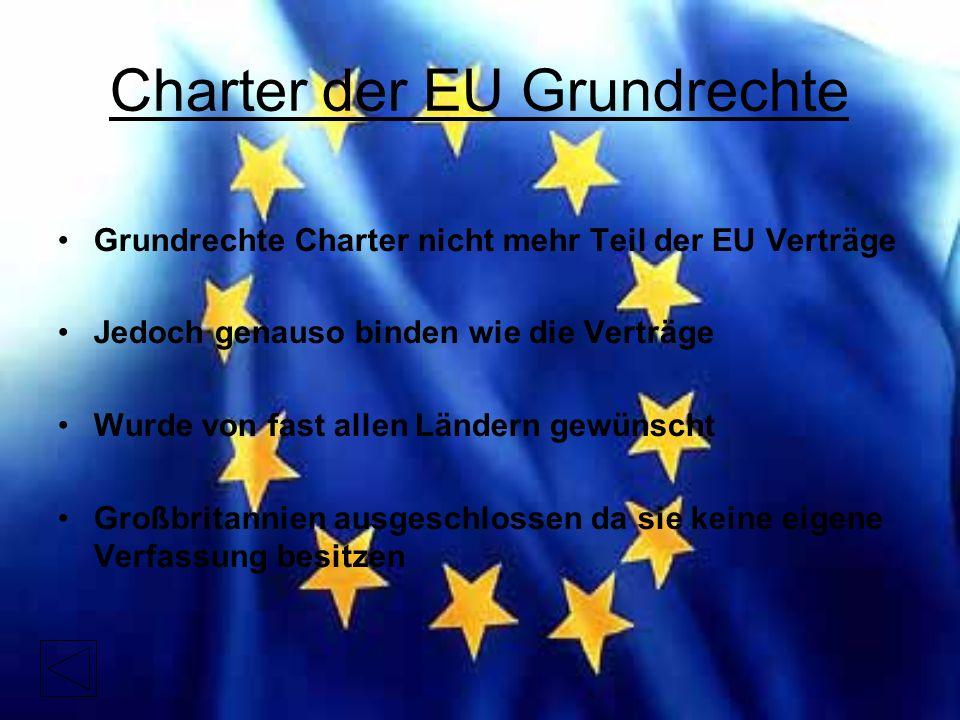 Charter der EU Grundrechte Grundrechte Charter nicht mehr Teil der EU Verträge Jedoch genauso binden wie die Verträge Wurde von fast allen Ländern gewünscht Großbritannien ausgeschlossen da sie keine eigene Verfassung besitzen