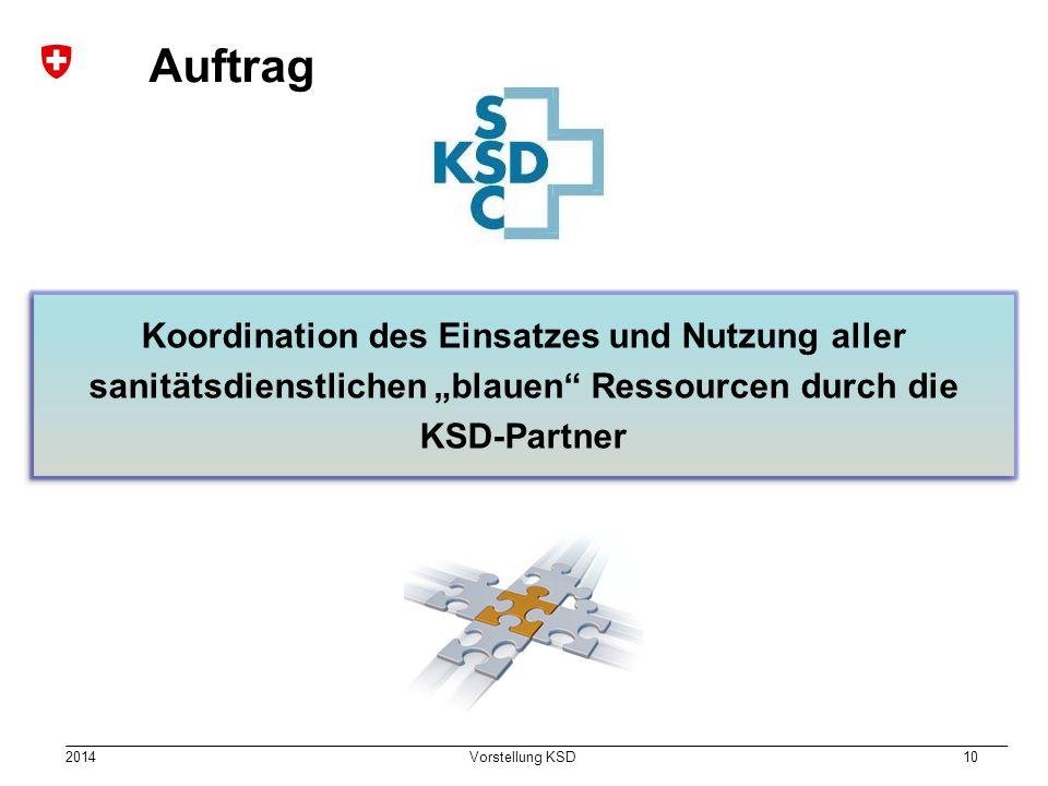 """2014 Vorstellung KSD 10 Auftrag Koordination des Einsatzes und Nutzung aller sanitätsdienstlichen """"blauen"""" Ressourcen durch die KSD-Partner"""