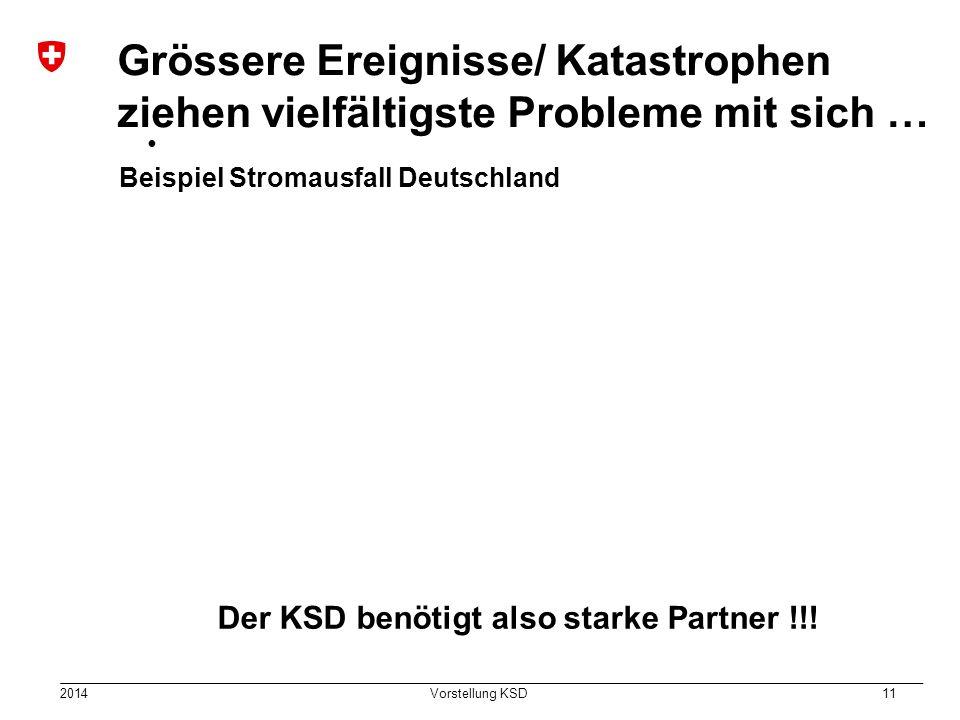 2014 Vorstellung KSD 11 Grössere Ereignisse/ Katastrophen ziehen vielfältigste Probleme mit sich … Beispiel Stromausfall Deutschland Der KSD benötigt also starke Partner !!!