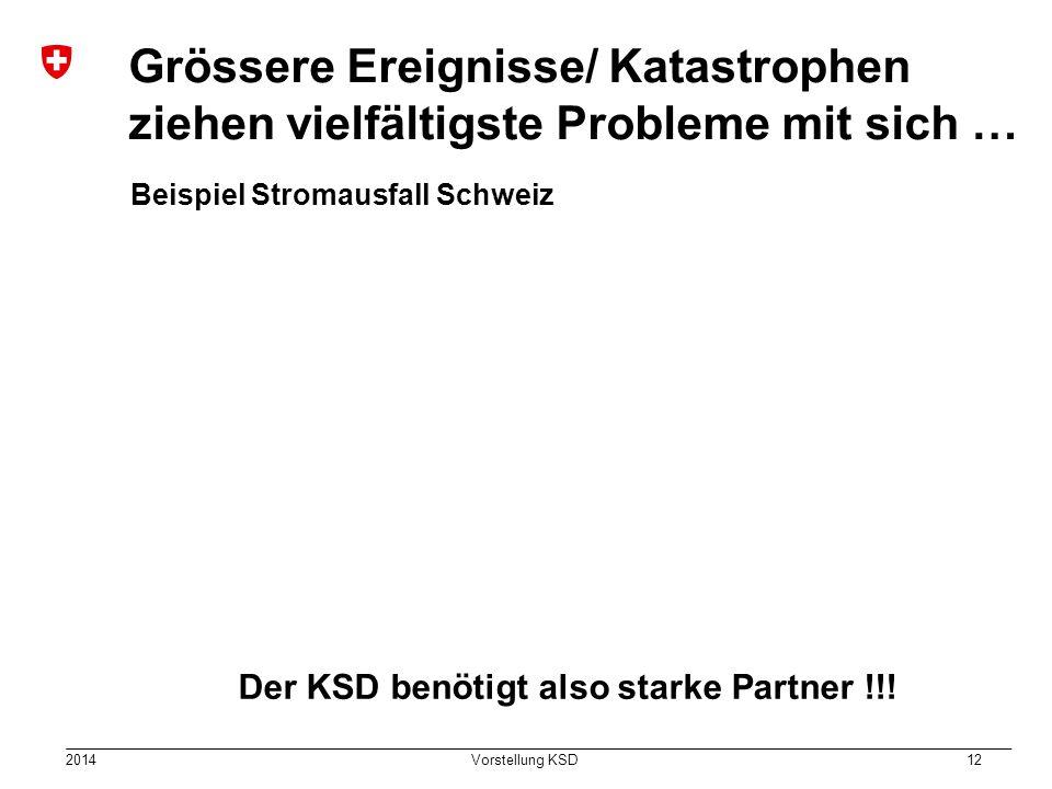 2014 Vorstellung KSD 12 Grössere Ereignisse/ Katastrophen ziehen vielfältigste Probleme mit sich … Beispiel Stromausfall Schweiz Der KSD benötigt also starke Partner !!!